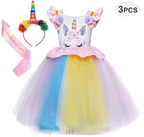Cotrio Unicorn Costume Dress Girls Princess Tutu Dresses Pageant Party Evening Gowns 3-Pieces Halloween Outfit with Headband and Sash Size 4T (110, 3-4Years, Rainbow Pink) ()