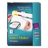 Index Maker Divider w/Multicolor Tabs, 5-Tab, Letter, 25 Sets/Box, Sold as 25 Set
