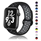 DYKEISS Sport Silicone Band Compatible with Apple Watch 38mm 42mm 40mm 44mm, Breathable Replacement Strap Wristband Accessory for iWatch Series 4/3/2/1 (Black-Gray, 38mm/40mm, S/M)