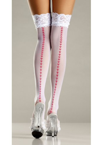 (Be Wicked Women's Sheer Lace-Top Thigh Highs with Red Printed Hearts Backseam, White, One Size)