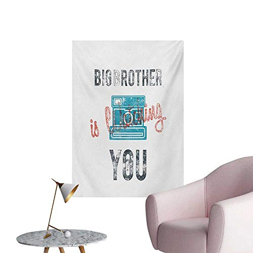 Vintage Wallpaper Half Toned Big Brother Quote with Old-Fashion Analogue Camera Icon Book Web PrintBlue Grey W24 xL36 Poster Print