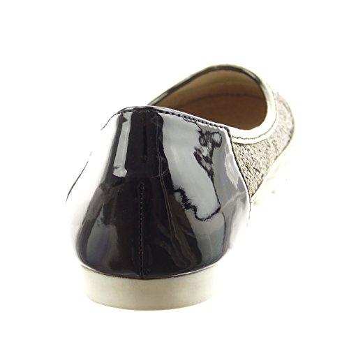Sopily - damen Mode Schuhe Ballerina Slip-On glitzer Patent - Schwarz