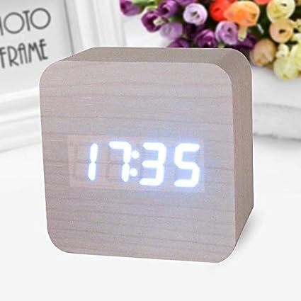 Alarm Clocks for Bedrooms - Wooden Digital LED Desk Alarm Clock Acoustic Control Sensing Clock Desktop