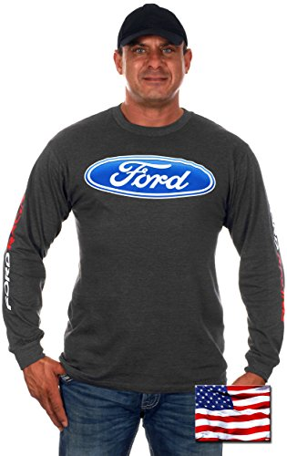 JH DESIGN GROUP Mens Ford Racing T-Shirt with Exclusive American Flag Sticker (X-Large, BSC2-charcoal Gray)
