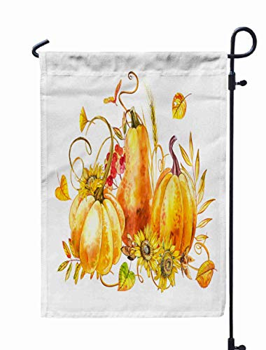 Shorping Welcome Garden Flag, 12x18Inch Pumpkins Composition Watercolor Painting White Background Watercolor Splash Happy Thanksgiving for Holiday and Seasonal Double-Sided Printing Yards Flags ()
