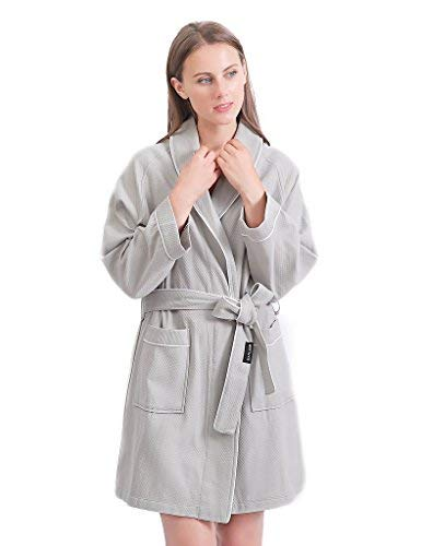 Sanli Short Waffle Robes for Women, Lightweight Cotton SPA Bathrobe, Above The Knee Length and Soft Bath Robe, M Gray ()