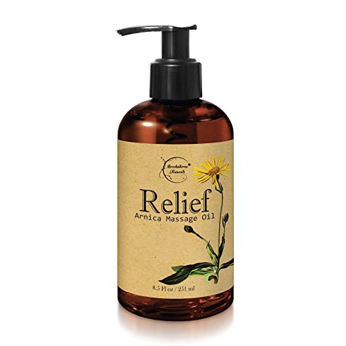 Relief Arnica Massage Oil – Great for Sports & Athletic Therapeutic Massage – All Natural - Arnica Montana for Sore Muscle Relief. Contains Sweet Almond, Jojoba, Grapeseed & Essential Oils (Arnica Lotion)