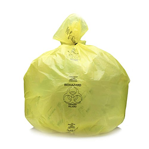 MediChoice Linen Bag, Infectious, Reinforced Seams, Plastic, 20-30 Gallon, 1.3 Mil, 30 Inch x 43 Inch, Yellow (Case of ()