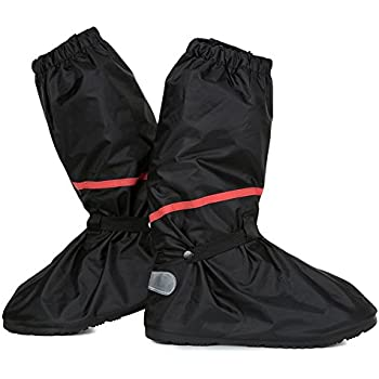 Anti Slip Waterproof Motorcycle Rain Boots Shoe Covers size Men 10 - 11 for Bike Riding Cycling with Sturdy Zipper Elastic Bands Reflective Heels and Red Line - Black