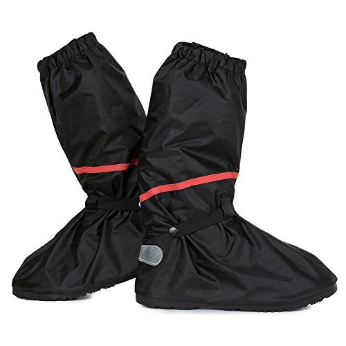 Waterproof Anti-Slip Motorcycle Bike Rain Boot Shoes Cover size Men 10 - 11 with Sturdy Zippered Elastic Bands Reflective Heels and Red Line, Black