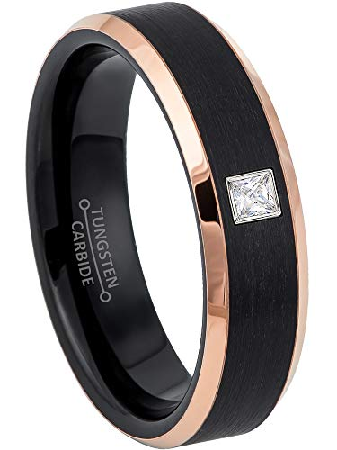 0.05ctw Solitaire Princess Cut Diamond Tungsten Ring - 6MM Brushed 2-Tone Rose Gold Tungsten Carbide Wedding Band - April Birthstone Ring - s13 ()