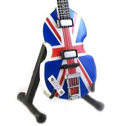 Miniatura Réplica Guitarra de Madera Paul Mc Cartnety The Beatles Bajo Hofner