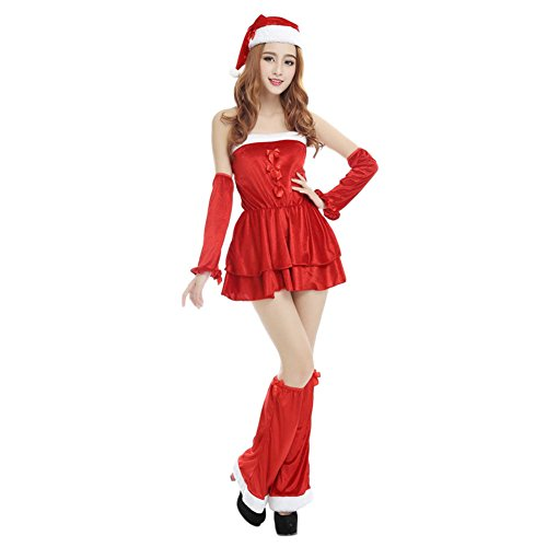 Fashion Story Womens Mrs Santa Claus Christmas Costume Dress Outfit (One Size, Red) (One Story Costume Leg Christmas)