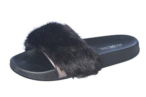 Roxoni Women's Summer Faux Fur and Metallic Open Toe Slide Sandal Slippers by Roxoni (Image #2)