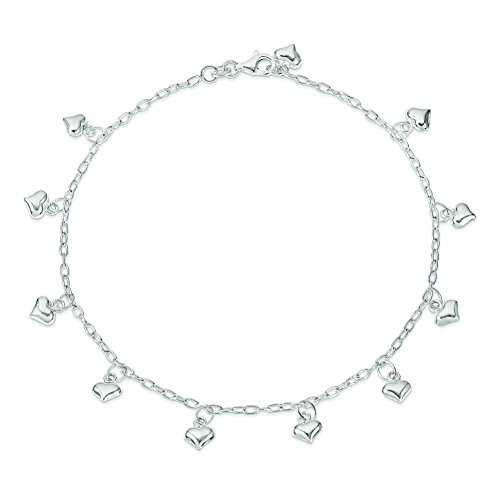 Sterling Silver Polished Puffed Heart Anklet (Sterling Silver Puffed Star)