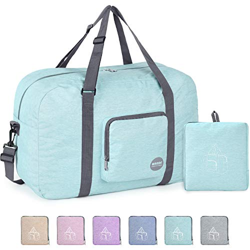 22″ Foldable Duffle Bag 50L for Travel Gym Sports Packable Lightweight Luggage Duffel Water-resistant By WANDF (Light Mint Green 22″, 22 inches (50 Liter))
