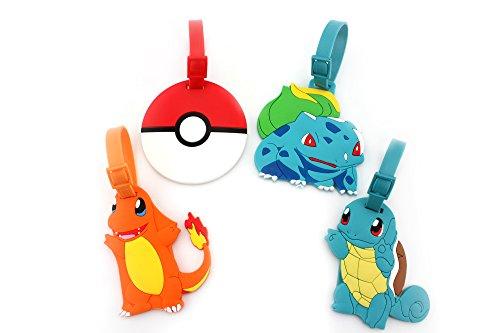 - Finex Set of 4 - Pikachu Poke Ball Charmander Bulbasaur Squirtle Travel Luggage Tags Bag Tag Adjustable Strap (Poke mon)