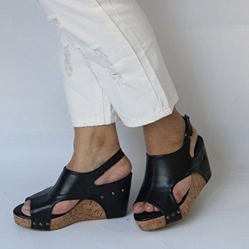 Élégant Peep Casual Beach Chaussures Toe Femmes Noir Roman Sandales Plage Pinke Mode D'été wxpX1n