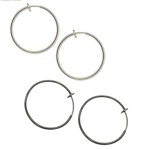 Silver Spring Hoops Earrings Clip On-Small, Medium & Large Silver Clip Hoop Earrings for Women & Girls (Silver/Dark Silver Large) (Small Hoop Non Pierced Earrings)
