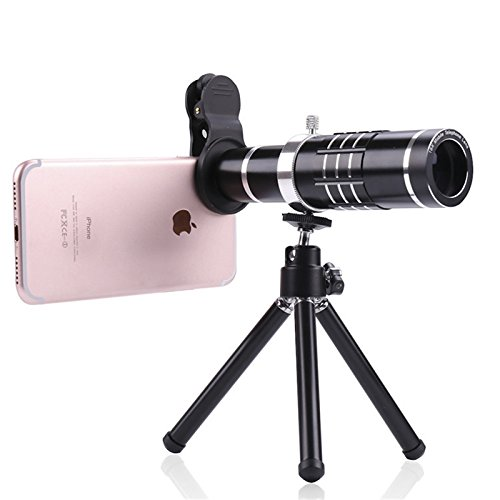 lovely Camera Lens Kit 18x Zoom for iPhone 6/6S/7/7S/8/X, Samsung, Most Smartphone, Telephoto Lens Kit &Tripod (Black)