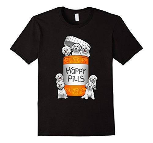 Men's Bichon Frise Happy Pills T-shirt Medium Black