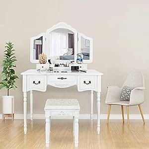 Bonnlo Large Vanity Set Girls Women Adults 5 Drawers Makeup Dressing Table  Cushioned Stool 5bfa80f1a1