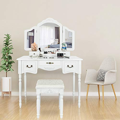 Bonnlo Large Vanity Set for Girls/Women/Adults 5 Drawers Makeup Dressing Table with Cushioned Stool,Tri-Folding Mirror Vanity Table with Necklace Hooks and Removable Desk Makeup Organizer (White)