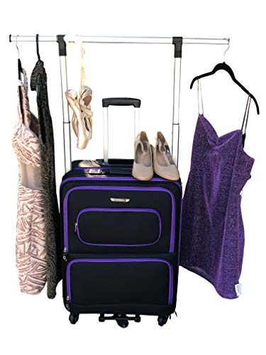 """The Dance Angel Suitcase Size Medium Purple and Black""""Purple Reign"""" (Rolling Dance Bag With Costume Rack) from The Dance Angel"""