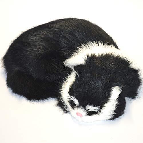 STP-US Realistic Cat Lifelike Kitten Plush Soft Rabbit Fur Furry Pet Animal Sleeping Synthetic Figurine (Black/White)