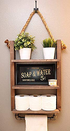 Rustic Farmhouse Bathroom Storage Shelf with Industrial for sale  Delivered anywhere in USA