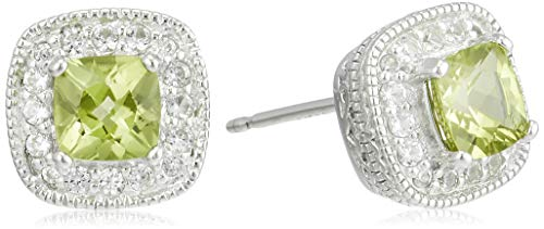 Sterling Silver Genuine Peridot and Created White Sapphire Halo Cushion Stud Earrings