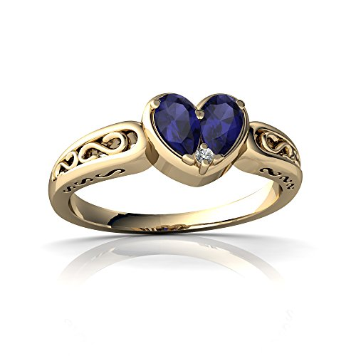 14kt Yellow Gold Sapphire and Diamond 5x3mm Pear filligree Heart Ring - Size 9