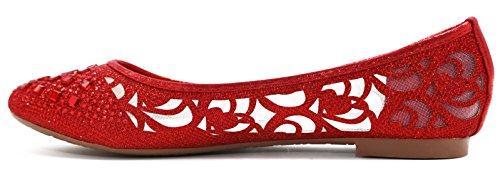 WALSTAR Women Casual Strass Glitter Mesh Slip auf Ballett flache Lightweigh rot