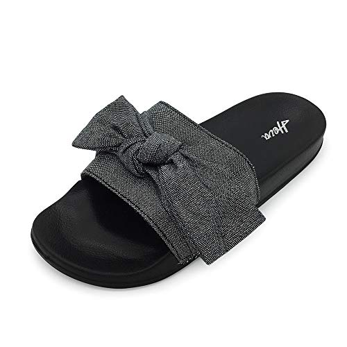 FUNKYMONKEY Women's Slides Sandals Bowknot Beach Casual Comfort Slippers (6 M US, Black)