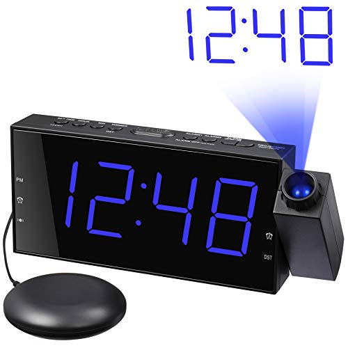 (Loud Alarm Clock with Bed Shaker & Projector, Large LED Display & Dimmer, USB Charger, 12/24 H, Vibrating Porjection Alarm Clock for Heavy Sleeper, Deaf, Hearing Impaired, Bedroom Wall Ceiling Pillow)
