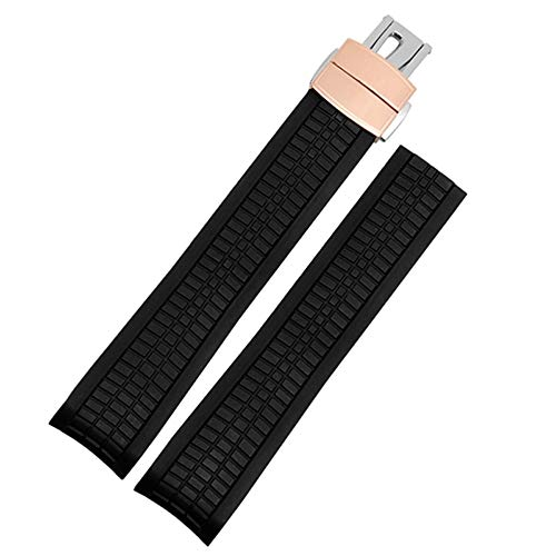- 21mm Black Rubber Watch Strap Band With Rose Gold Clasp Fit PP Aquanaut 5167R 5167A