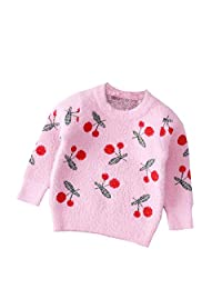 Mornyray Girls Cute Cherry Printed Cotton Sweater Long Sleeved Pullover for Spring