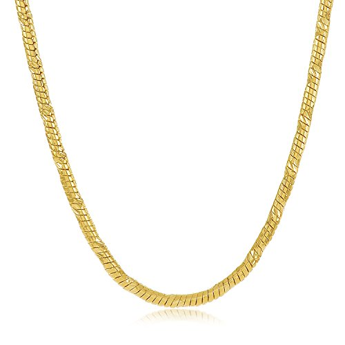 14k Gold Plated Snake Chain (The Bling Factory Small 14k Yellow Gold Plated 2mm Diamond-Cut Rounded Snake Link Chain, 22