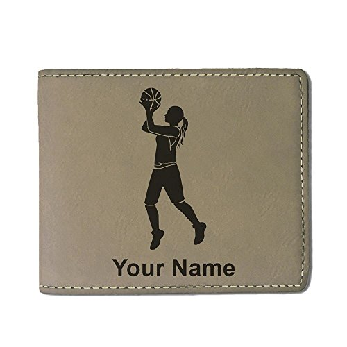 Faux Leather Wallet - Basketball Player Woman - Personalized Engraving Included (Light Brown) Ladies Personalized Basketball