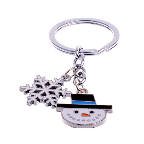 BinaryABC Christmas Snowman Snowflake Keychains Keyring Charm Pendants,Christmas Party Favors ()