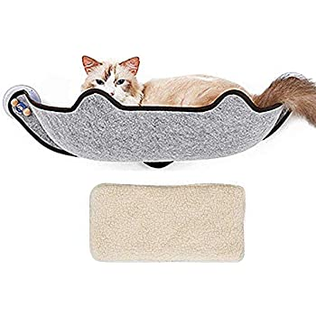 KOBWA Cat Window Bed, Cat Window Perch Mounted Cat Bed Seat Lounger with 1 Mat and 3 Large Suction Cups Cat Resting Sofa Safe Sunbath Holds up to 40 lb