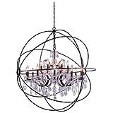 Elegant Lighting Geneva Collection 18-Light Pendant Lamp with Royal Cut Crystals, Dark Bronze Finish