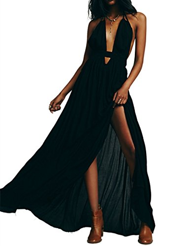 CA Mode Women Plunging Neckline Summer Beach Evening Prom Gown Party Maxi Dress,Black,Small (Back Evening Gown)