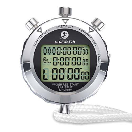 LAOPAO Melt Stopwatch, 1/100th Second 100 Lap Memory, Clock Daily Digital Timer for Sport Match,Competition,Coach,Referee,Training ()