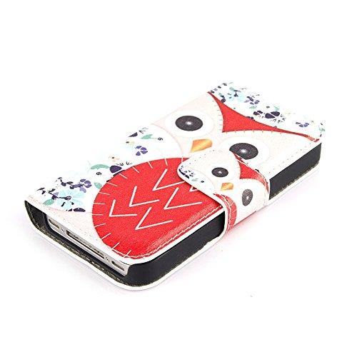 """HSRpro® Hülle """"EULE"""" für iPhone-SE-5-5S Wallet Case Rosa mit Kartenschlitzen für Ihre wichtigsten Begleiter"""