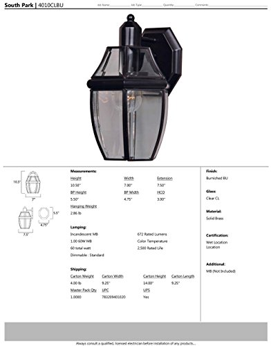 Maxim 4010CLBU South Park 1-Light Outdoor Wall Lantern, Burnished Finish, Clear Glass, MB Incandescent Incandescent Bulb , 40W Max., Damp Safety Rating, 2900K Color Temp, Standard Dimmable, Glass Shade Material, 3900 Rated Lumens by Maxim Lighting (Image #1)