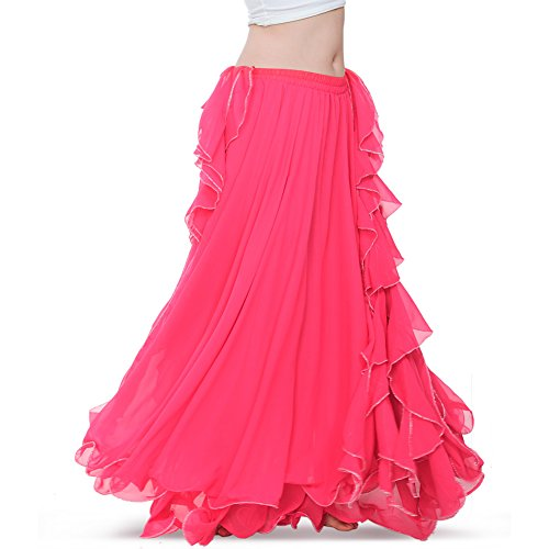 ROYAL SMEELA Women's Belly Dance Chiffon Skirt ATS Voile Maxi Full Dress Bellydance Skirts Hot Pink One Size for $<!--$29.00-->