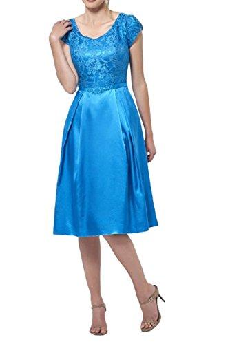 v Abendkleider Kurzes Blau mia Brautmutterkleider Kurzarm Spitze Festlichkleider Knielang Ausschnitt Braut Elegant La 0S1wnIaFqF