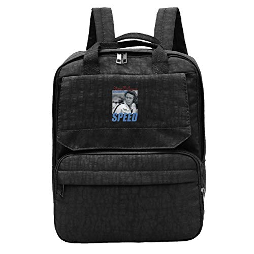 WUHONZS Travel Backpack Steve McQueen A Passion for Speed Summer Schwarz Racing Bullitt Ford Mustang Gym Hiking Daypack College Laptop and Notebook Bag for Women & Men