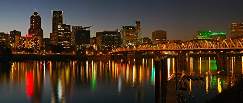 (Posterazzi Skyline with city light at night Portland Multnomah County Oregon USA Poster Print (36 x 12))